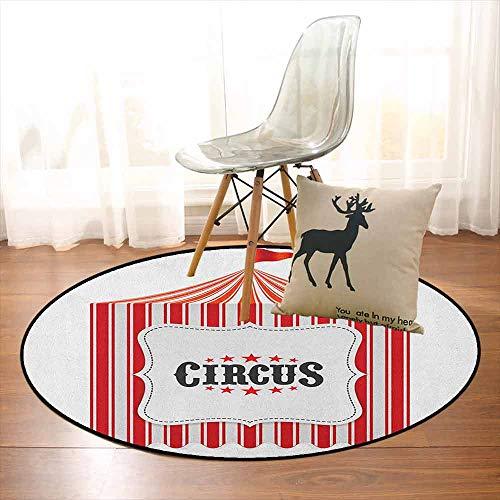 Circus Better Protection Circus Tent Flagpole Classic Festival Childish Joy Leisure Theme Art Print Kid Game Carpet D39.7 Inch Orange Charcoal Grey