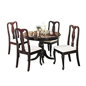 acme furniture queen anne collection 5 pc dining room set with round table 4 side chairs fabric upholstery pedestal base and queen anne front legs in