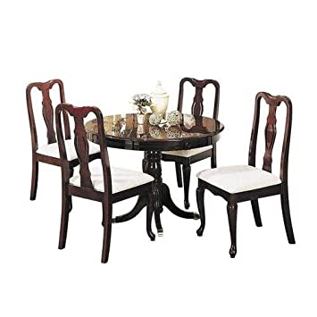 Acme Furniture Queen Anne Collection 06005 5 PC Dining Room Set With Round  Table 4 Side