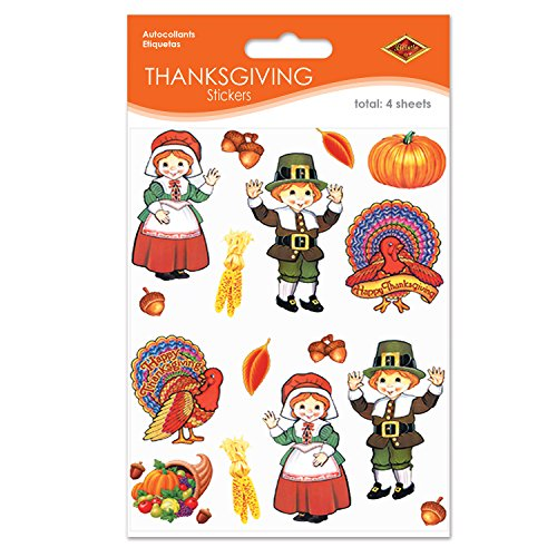 Pilgrim & Turkey Stickers (4 Shs/Pkg)