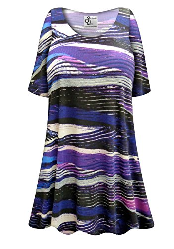 Purple Abstract Lines Plus Size Supersize Poly/Cotton Extra Long T-Shirt 0x/1x