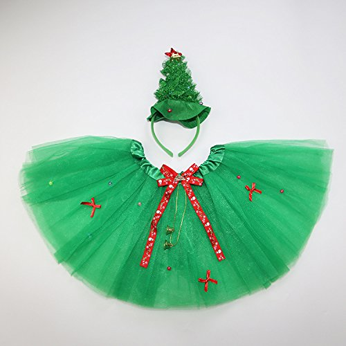 Creative Practical Kids Christmas Costumes Headband Wand Tutu Christmas Tree Skirt Set Girls Fairy Dress Outfit 2pcs/set (Christmas Tree)
