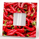 Chili Peppers Red Hot Background Wall Framed Mirror with Printed Kitchen Decor Art Home Design Gift