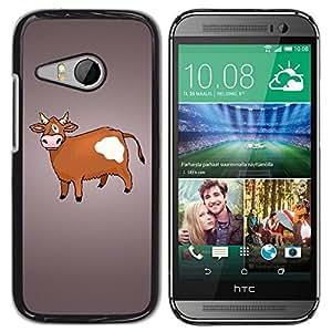 TECHCASE**Cubierta de la caja de protección la piel dura para el ** HTC ONE MINI 2 / M8 MINI ** Cow Brown Farming Animal Rights Drawing
