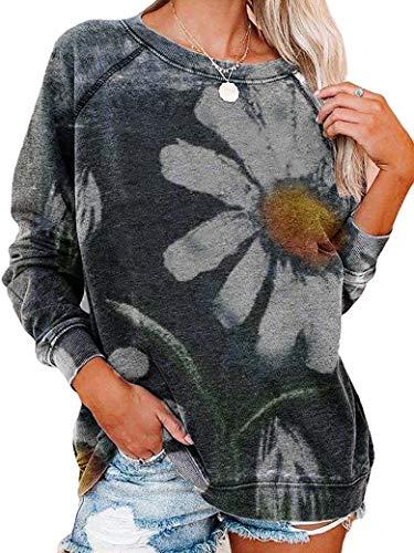 PLNCAYFZ Women Dasiy Print Crew Neck Long Sleeve Sweatshirt Tops Dark Grey
