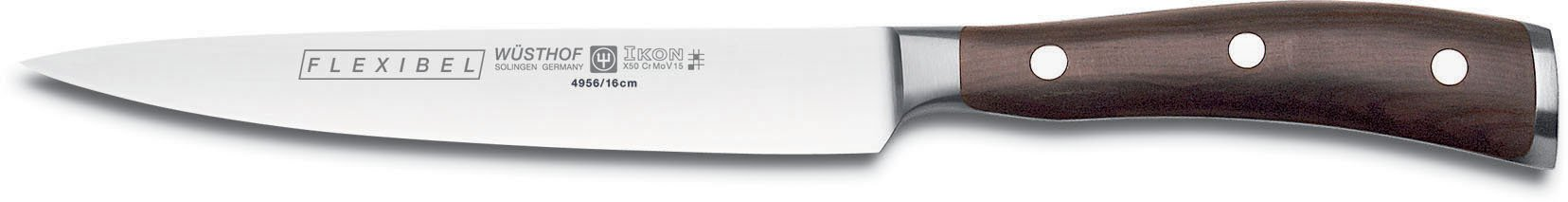 Wusthof Ikon 6-Inch Flexible Fillet Knife with Blackwood Handle