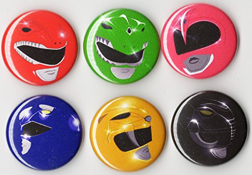 Disney Power Ranger Costumes (POWER RANGERS BUTTON SET 6PCS - 1 INCH PIN BACK)
