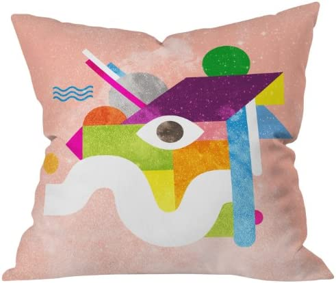 Deny Designs Nick Nelson Space Face Pink Throw Pillow, 26 x 26