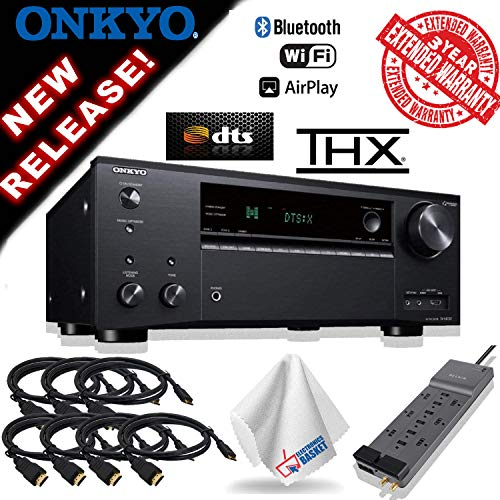 Onkyo TX-NR797 Smart AV 9.2 Channel Receiver with 4K Ultra HD | Dolby Atmos | AirPlay 2 | IMAX Enhanced (2019 Model) 8 HDMI Cable + 3 Year Extended Warranty & More (Best Onkyo Receiver 2019)
