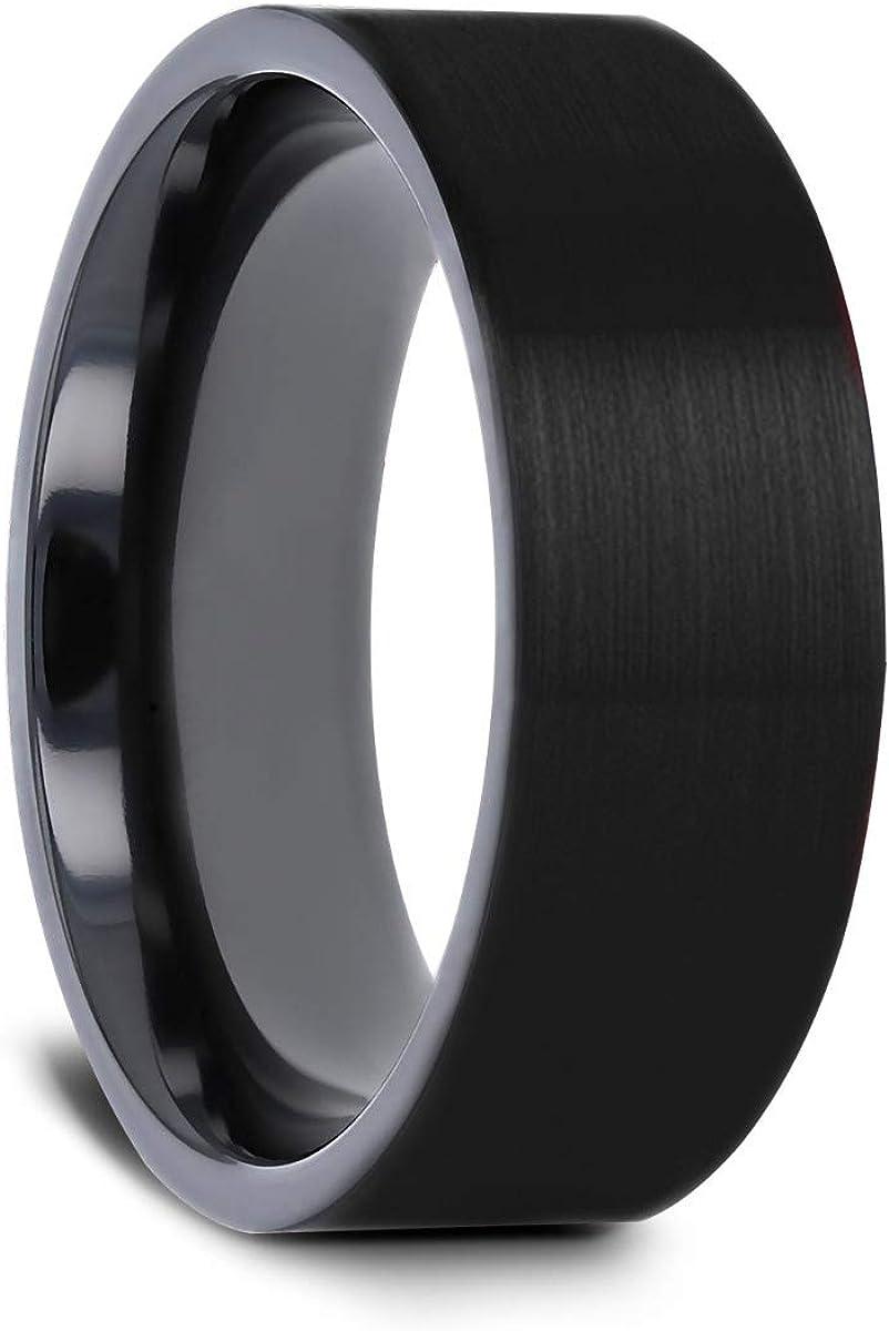 Thorsten San Bernardino   Titanium Rings for Men   Lightweight Titanium   Comfort Fit   Brushed Finish Flat Black Titanium Men's Wedding Band - 8 mm