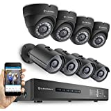 Amcrest ProHD 720P 8CH Video Security System - 8 x 1.0-Megapixel (1280TVL) Outdoor IP67 Bullet & Dome Cameras, 2TB HDD, Night Vision, Black (REP-AMDV7208M-4B4D-B) (Certified Refurbished)