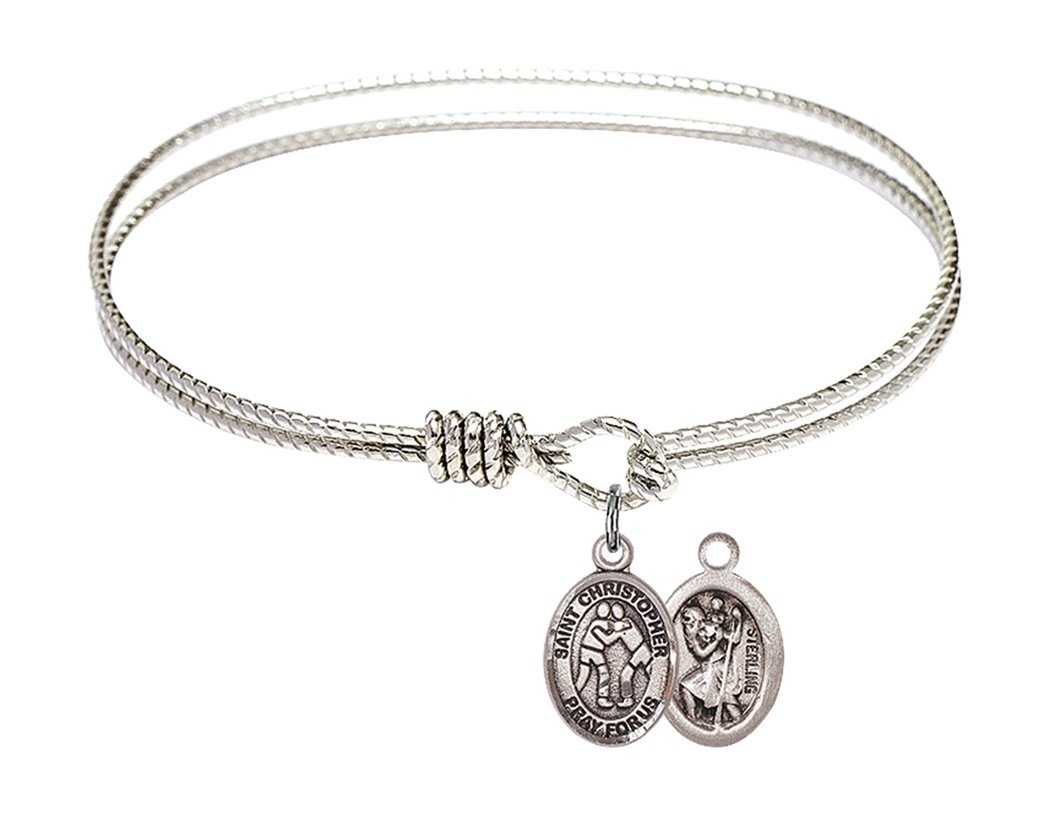 Rhodium Plate Textured Bangle Bracelet with Saint Christopher Wrestling Athlete Petite Charm, 7 1/4 Inch
