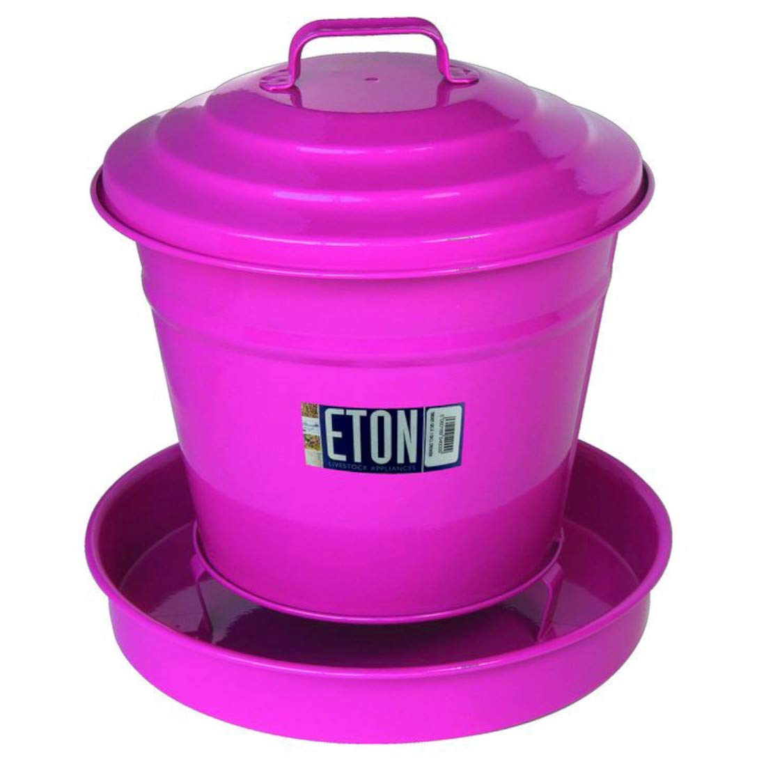 4 Litre Eton Cottage Garden Painted Bucket Drinker Pink