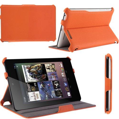 i-Blason Auto Sleep / Wake Google Nexus 7 Inch Tablet PC Slim folio Case With Built in Stand Hard Back Cover 8GB 16GB ((Orange)