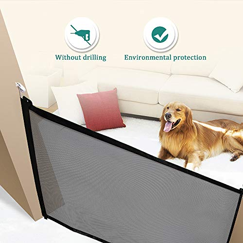 VSTON New Magic Gate Pet Safety Fence,Portable Folding Safety Guard for Dog Cat Automatic Barrier Magic Isolation Net Security Protection(Black) ()
