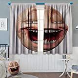 Anhounine Humor,Blackout Curtain,Poker Face Guy Meme Laughing Mock Person Smug Stupid Odd Post Forum Graphic,Window Curtain Drape,Peach and Pearl,W72 x L63 inch