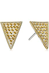 """Anna Beck Designs """"Gili Charm"""" Gold Plated Triangle Posts Stud Earrings"""