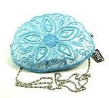 Flower Pattern Blue Beaded Evening Bag, Bags Central