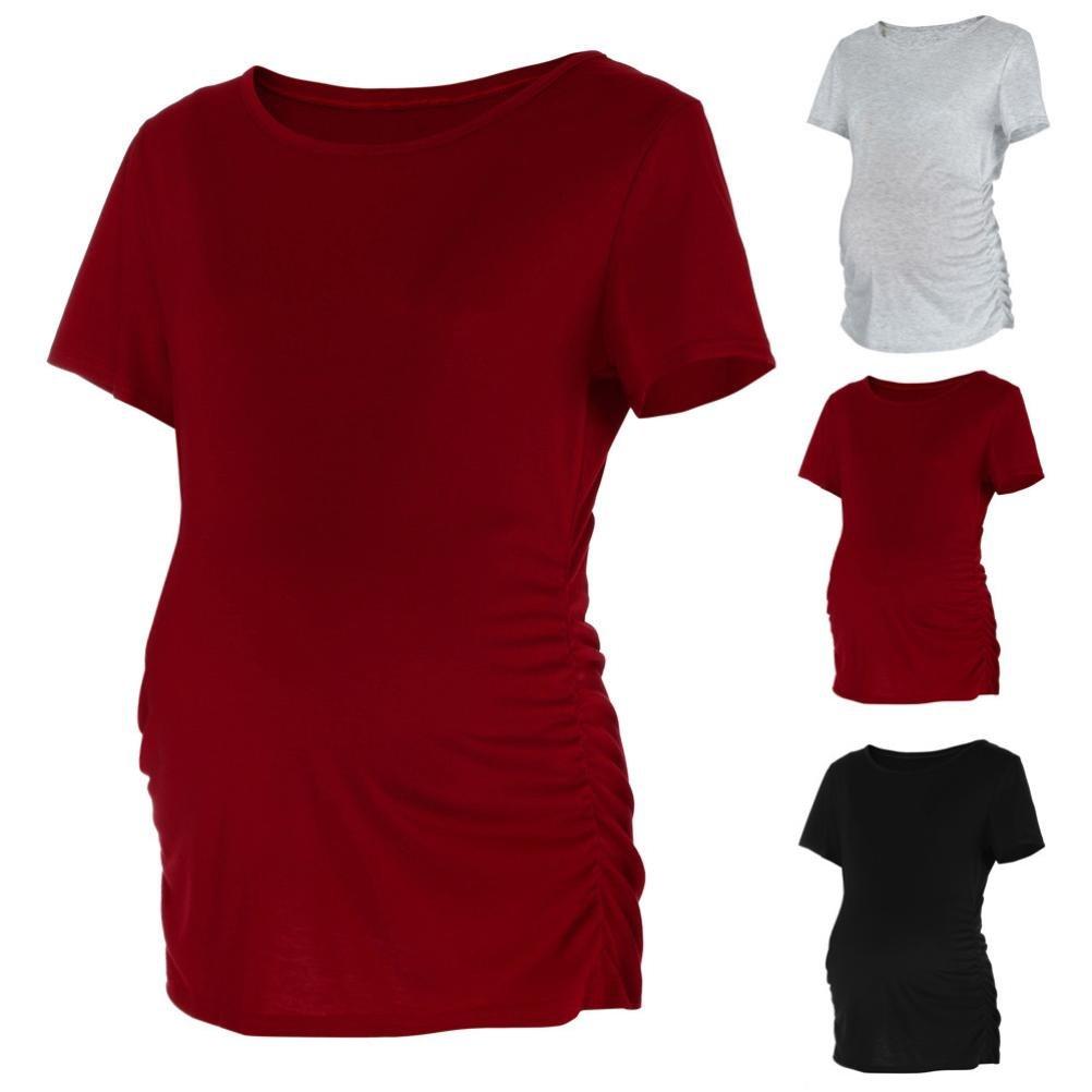 Cinnamou Blusa Embarazada para Premam/á,Camiseta de Maternidad de Manga Corta Top con Moda Algod/ón con Color S/ólido
