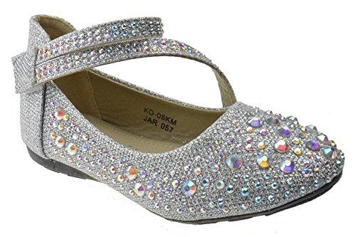 KD 08KS Little Girls Rhinestone Ballet Ballerina Flats Silver Glitter 5 Toddler -