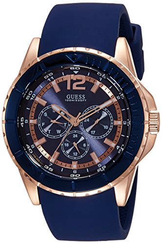 GUESS Men's W0485G1 Comfortable Rose Gold-Tone & Blue Silicone Multi-Function Watch