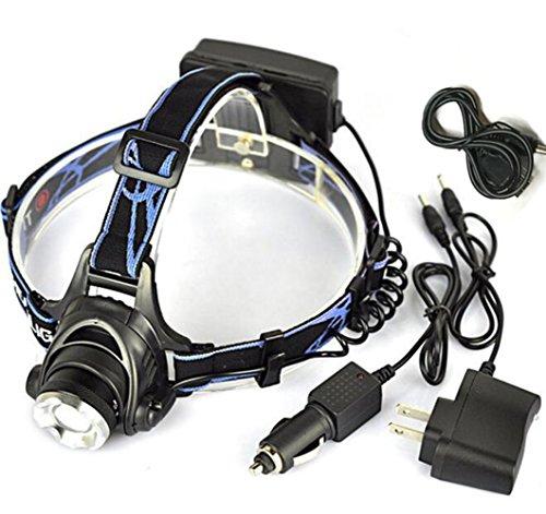 X-Sunshine 3 Modes LED Headlight Waterproof Cree T6 2500 Lumens Powerful Headlamp Work Light For Hiking Camping Running, Red Head