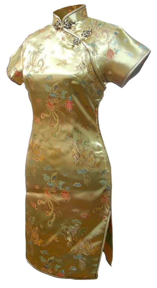 7Fairy Women's Vtg Gold Dragon Mini Chinese Party Dress Cheongsam Size 6 US