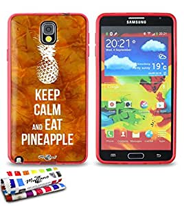 Carcasa Flexible Ultra-Slim SAMSUNG N9000 de exclusivo motivo [Keep Calm And Eat Pineapple] [Roja] de MUZZANO  + ESTILETE y PAÑO MUZZANO REGALADOS - La Protección Antigolpes ULTIMA, ELEGANTE Y DURADERA para su SAMSUNG N9000