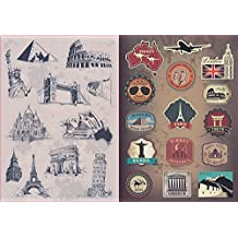 T&B 2PCS Multi Countries Retro Vintage Landmark Monument Travel Airline Plane Patterns Stickers Luggage Suitcase Laptop Waterproof Stickers Children's Room Decor Labels A4#30