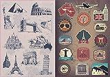 T&B 2PCS Multi Countries Retro Vintage Landmark Monument Travel Airline Plane Patterns Stickers Luggage Suitcase Laptop Waterproof Stickers Children's Room Decor Labels A4#30
