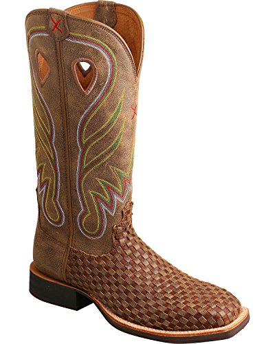 (Twisted X Women's Ruff Stock Basketweave Cowgirl Boot Square Toe Brown 9)