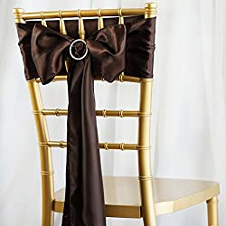 BalsaCircle 50 Chocolate Brown Satin Chair Sashes Bows Ties for Wedding Party Ceremony Reception Event Decorations Supplies Cheap