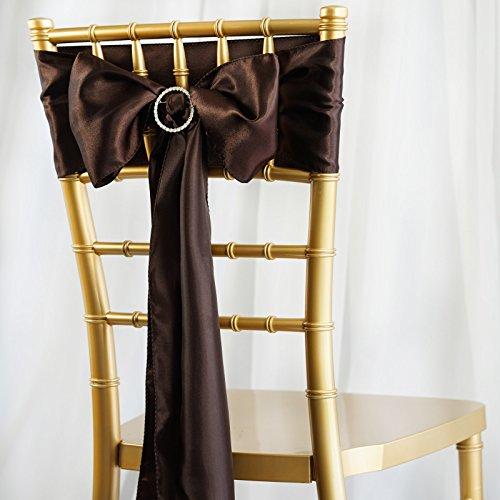 BalsaCircle 50 Chocolate Brown Satin Chair Sashes Bows