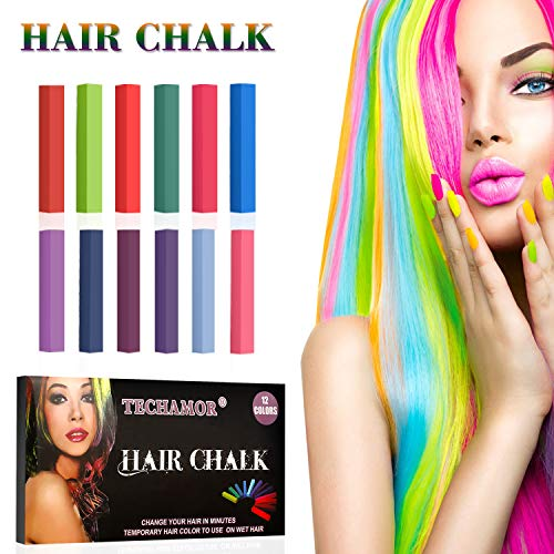 Dog Spray Paint Halloween (Hair Chalk,Hair Chalk Pen,Temporary Hair Color Chalk Set,No-Toxic Washable Hair Dye for Kids Hair Dyeing Party,Birthday Gifts For Girls,women, Men,12 Bright)
