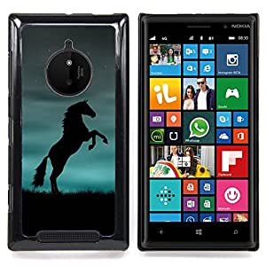 Eason Shop / Premium SLIM PC / Aliminium Casa Carcasa Funda Case Bandera Cover - Caballo Negro Azul Potente - For Nokia Lumia 830