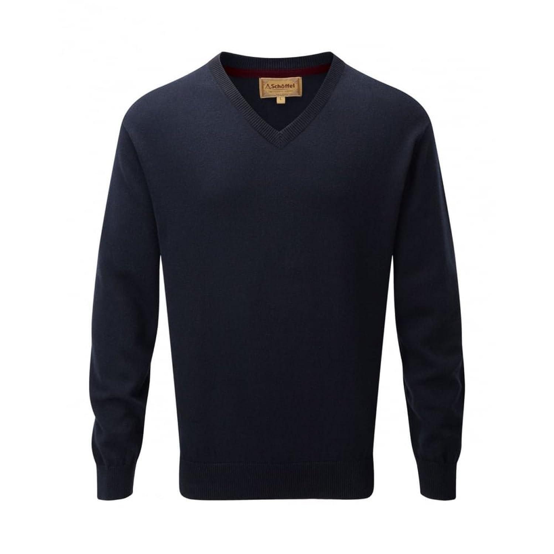 Schoffel Cotton/Cashmere V Neck Mens Jumper