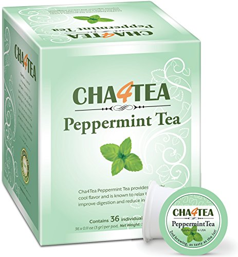 Cha4TEA 36-Count Peppermint Tea K Cups for Keurig K-Cup