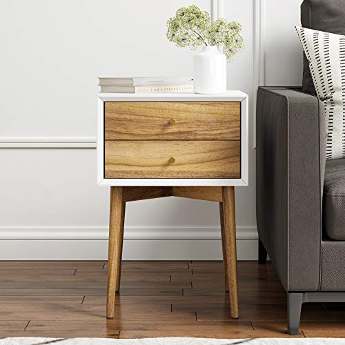 - Nathan James 32702 Harper Mid-Century Side Table, 2-Drawer Nightstand, White/Brown