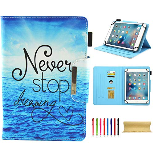 Universal 10 Inch Tablet Case, Techcircle Cute Slim PU Leather Multi-Angle Stand Wallet Case for Apple iPad Air, iPad 9.7 2017/2018, Galaxy Tab, Kindle and More 9.5-10.5 Inch Tablet, Never Stop ()