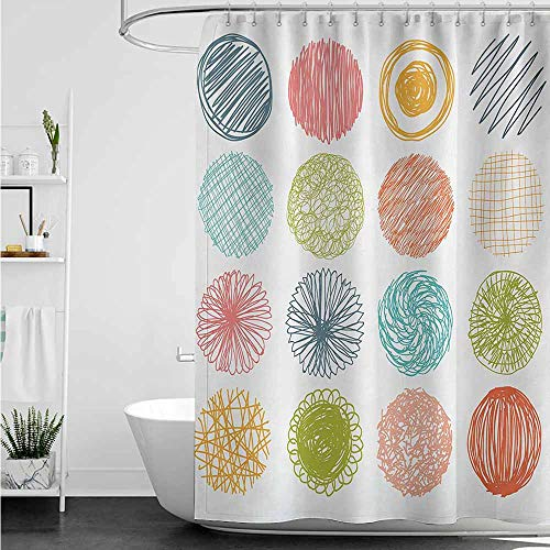home1love Long Shower Curtain,Abstract Collection of Doodle Style Scribble Circles Stripes Childish Joyful Illustration,Polyester Fabric Waterproof,W108x72L,Orange Coral (Collection Stripe Northwoods)