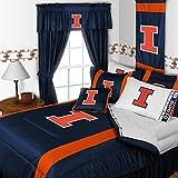 Illinois Fighting Illini NCAA Bedding - Sidelines Comforter and Sheet Set Combo - Full