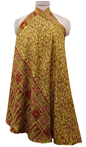 Pure Maxi Rversible et Jaune Court Vintage Hippie Wrap Saree Indianbeautifulart Soie Lime Vert Pale WSgwqc6YyU