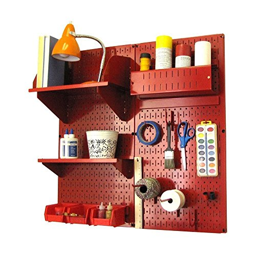 Wall Control Hobby Craft Pegboard Organizer Storage Kit, Red by Wall Control