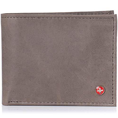 (Alpine Swiss Mens Multi-Card Compact Center Flip Bifold Wallet Distressed Grey)