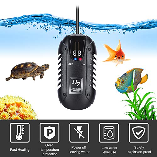 lychee Submersible Aquarium Heater Fish Tank Heaters with Intelligent LED Temperature Display and External Temperature Controller Precise Temperature up to 25 Gallon Fish Tank (25W)