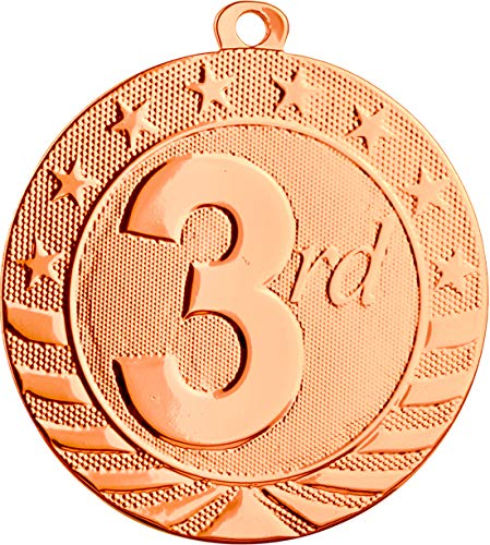 Express Medals 10-Pack of 3rd Third Place 2 inch Bronze Color 3rd Place Medal Trophy with Neck Ribbons Metal Awards