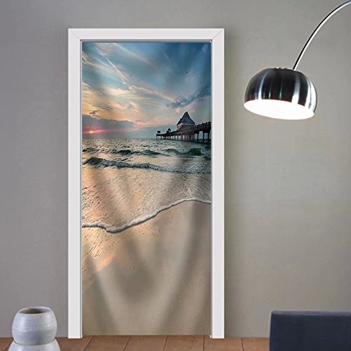 made 3d door stickers Sunset near Pier 60 on a Clearwater Beach Florida USA Fabric Home Decor For Room Decor 30x79 (Clearwater Glass Panels)