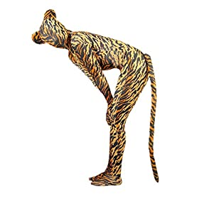 - 51KPey0oTuL - VSVO Unisex Tiger Spandex Costume with Ears and Tail for Adults and Children