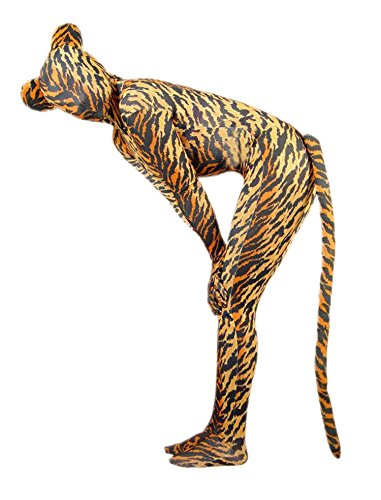 VSVO Unisex Tiger Spandex Costume with Ears and Tail for Adults and Children (X-Large, Tiger with Tail)