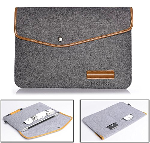 Clutch Notebook Carrying Case - 13 Inch Slim Felt Gray Laptop Sleeve Carrying Case Envelope Clutch Handbag Briefcase PU Leather Trim for 13''-13.3'' Macbook Pro (Retina)/Macbook Air/Microsoft Surface Pro/Ultrabook